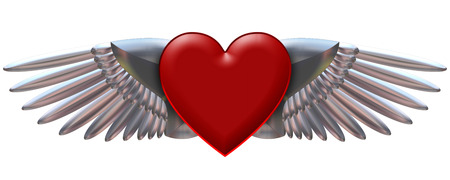 This is a heart with chromed wings illustration on black background