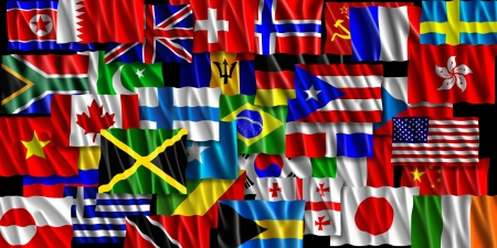 This is a flag illustration of layered world flags from around the world  illustration