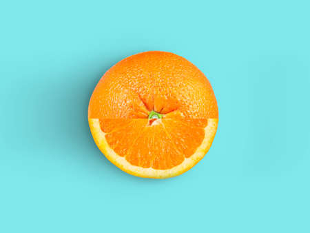 Orange fruit isolated on blue background. oranges top view.