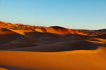 Sand dunes with clear blue sky in Moroccan dessert