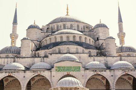 Front View of Blue Mosque Istanbul in Turkey