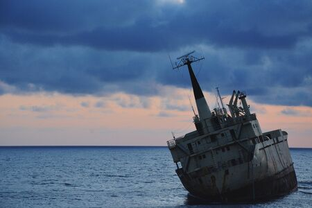 Old Rotten Shipwreck Located in Paphos, Cyprus Stock Photo