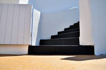 Black staircase classic architecture design.