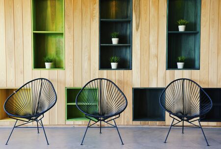 Interior Design Architecture with Chairs and Wooden Walls 版權商用圖片