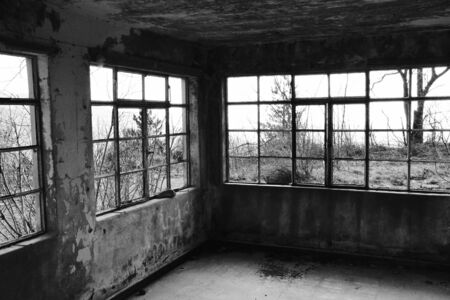 Abandoned House in the Forest with Broken Windows 版權商用圖片