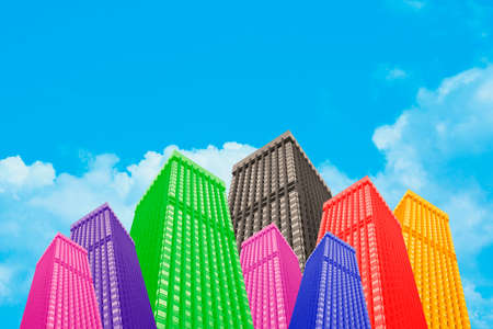 Colourful Psychedelic Buildings Withe Clear Blue Sky Background