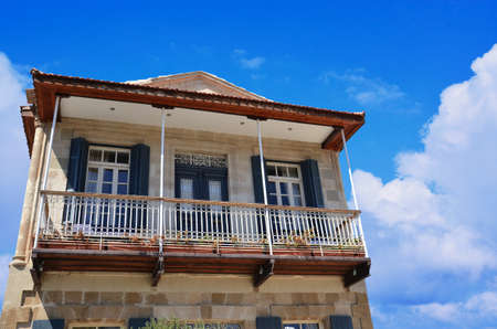 Traditional Cypriot House with Blue Sky in the Background