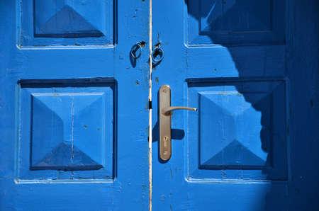Traditional Blue House Door in Santorini Island 版權商用圖片