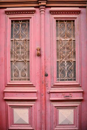 A Pink Wooden Vintage Door in Lefkara Village, Cyprus