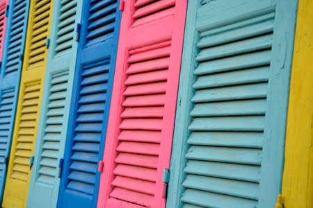 Brightly Rustic Coloured Wooden Vintage External Windows