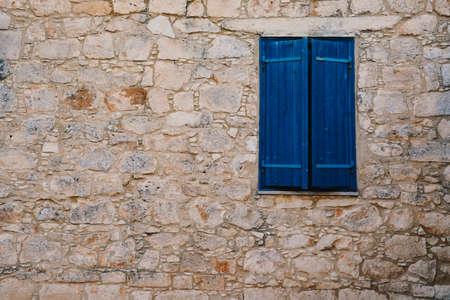 Old Brick Facade With Window in Greek Village