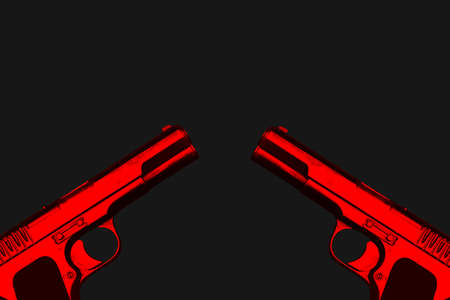 3D illustration of two red world war 2 guns facing each other on a dark grey background