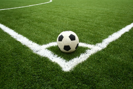 soccer ball on grass: corner kick