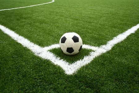 cancha de futbol: saque de esquina  Foto de archivo
