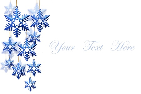 snowflakes decorations isolated on white background for message