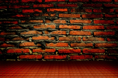 burnt wood: old brick wall and floor  Stock Photo