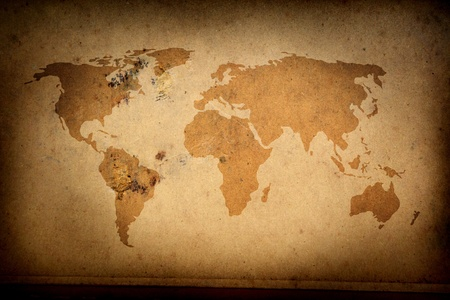 south africa soil: ancient map of the world  Stock Photo