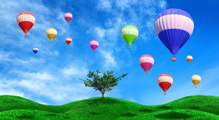 red balloon: Hot air balloons floating over green field