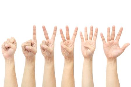 pu�os cerrados: manos contando desde 0 hasta 5