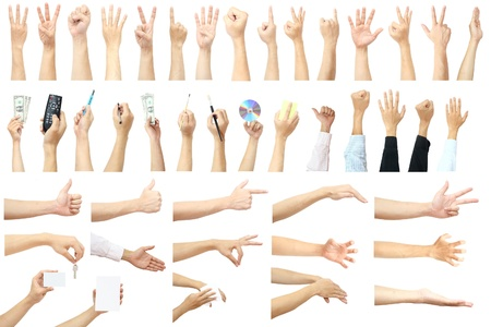 ok hand: set of many hands concept