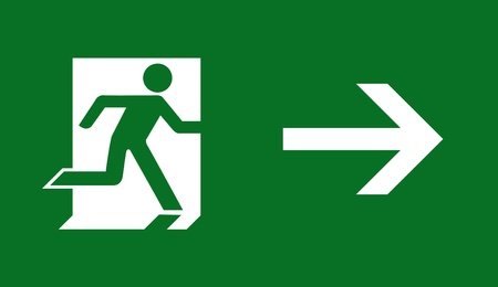 emergency exit: emergency exit sign  Stock Photo