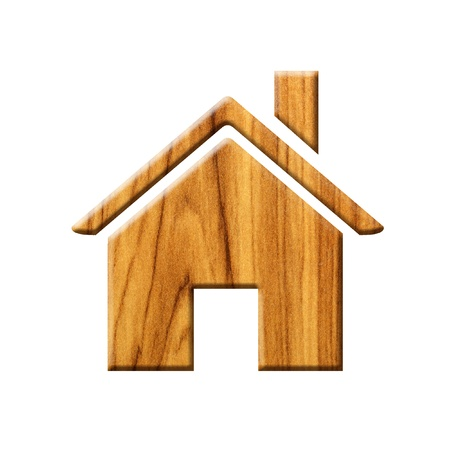 wooden house icon  Stock Photo