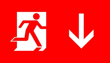 leading light: emergency exit sign  Stock Photo