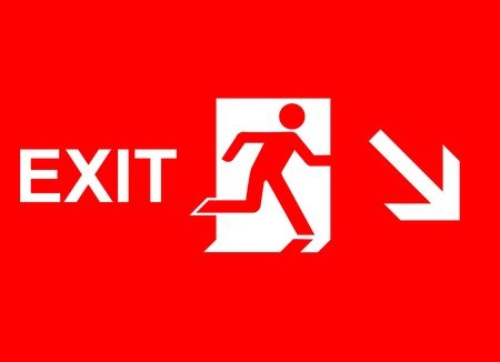 fire exit sign: emergency exit sign  Stock Photo