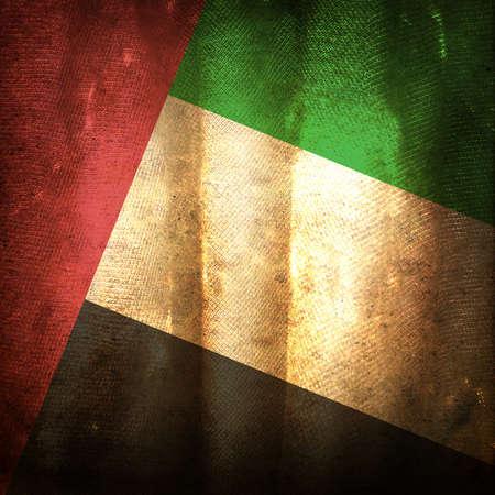 arab flags: Old grunge flag of United Arab Emirates