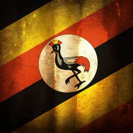 uganda: Old grunge flag of Uganda Stock Photo