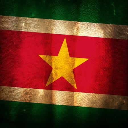 suriname: Oude grunge vlag van Suriname Stockfoto