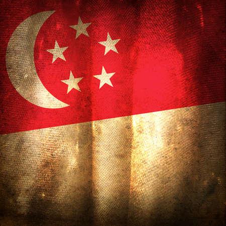 singaporean flag: Old grunge flag of Singapore Editorial