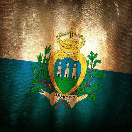 san marino: Old grunge flag of San marino