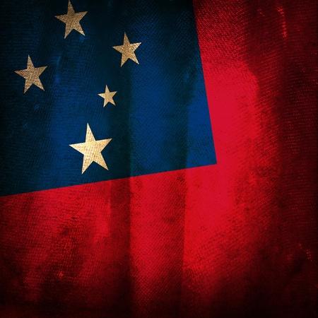samoa: Old grunge flag of Samoa Stock Photo