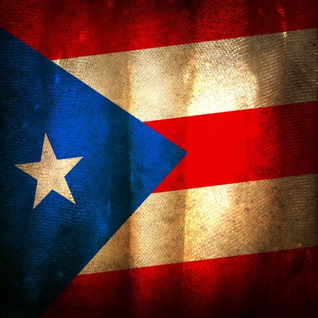 Old grunge flag of puerto rico photo