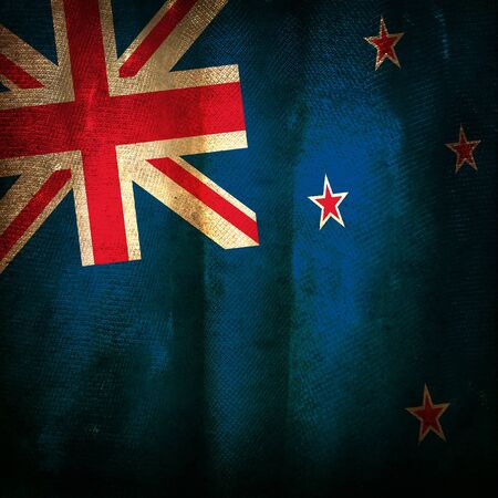 Old grunge flag of new zealand photo