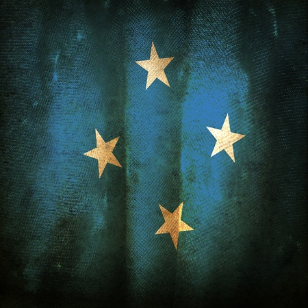 micronesia: Old grunge flag of micronesia