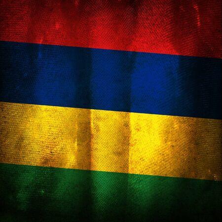mauritius: Old grunge flag of mauritius