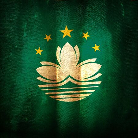 macau: Old grunge flag of Macau