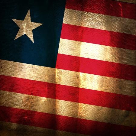 liberia: Old grunge flag of Liberia