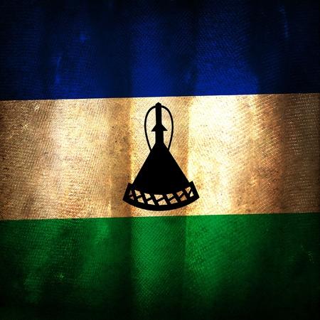 LESOTHO: Old grunge flag of Lesotho Stock Photo