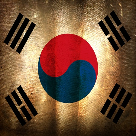south korea flag: Old grunge flag of South Korea