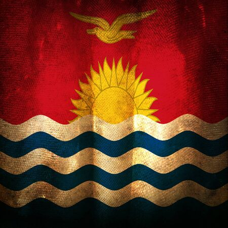kiribati: Old grunge flag of Kiribati