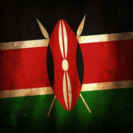 africa antique: Old grunge flag of Kenya