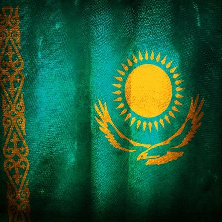 kazakhstan: Old grunge flag of Kazakhstan Stock Photo
