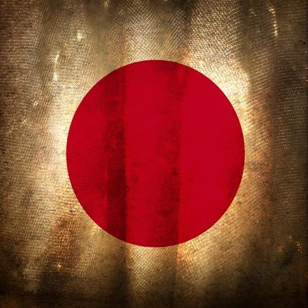 Old grunge flag of Japan photo