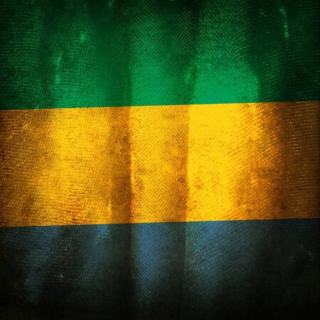 gabon: Old grunge flag of Gabon