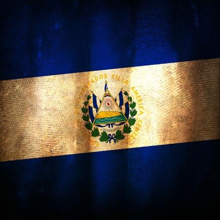 el salvador flag: Old grunge flag of El salvador Stock Photo