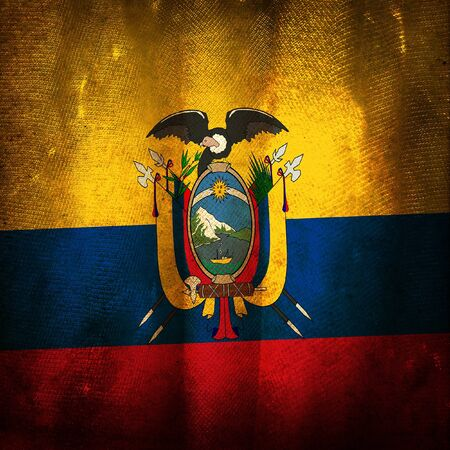 ecuador: Old grunge flag of Ecuador