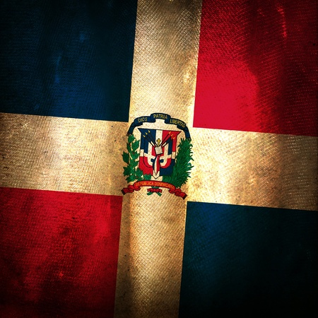 dominican republic: Old grunge flag of Dominican republic Stock Photo